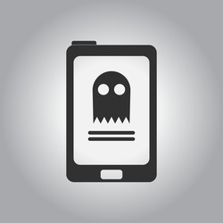 Black and white Vector illustration in flat design Halloween icon ghost online