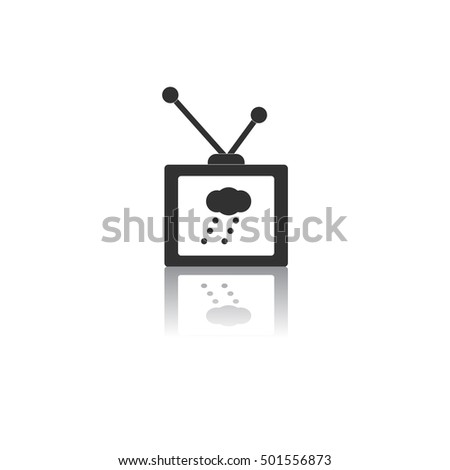 Black and white Vector illustration in flat design of TV weather forecast