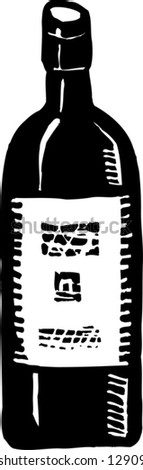 Black and white vector illustration of a bottle