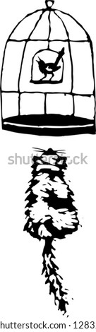 Black and white vector illustration of a cat looking at a birdcage - stock vector