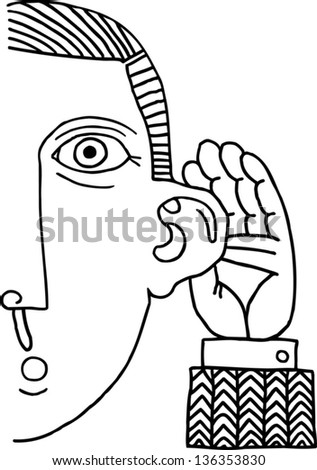 Black and white vector illustration of a man listening