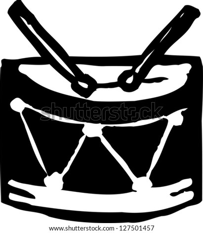 Black and white vector illustration of a snare drum