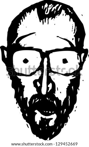 Black and white vector illustration of a surprised man