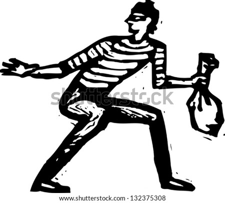 Black and white vector illustration of a thief
