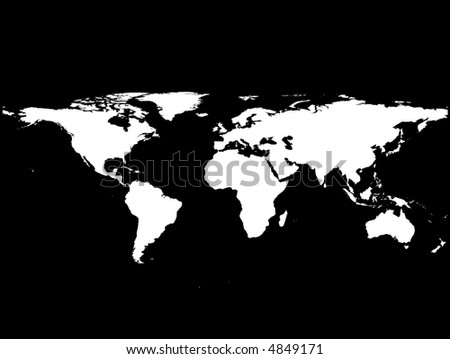 black and white vector illustration of a world map