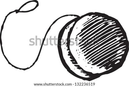 Black and white vector illustration of a yo-yo