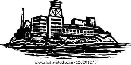 Black and white vector illustration of Alcatraz island Federal prison