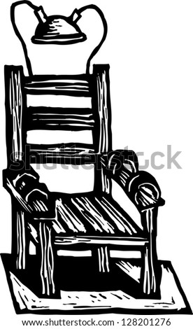 Black and white vector illustration of an electric chair - Execution chaise electrique video ...