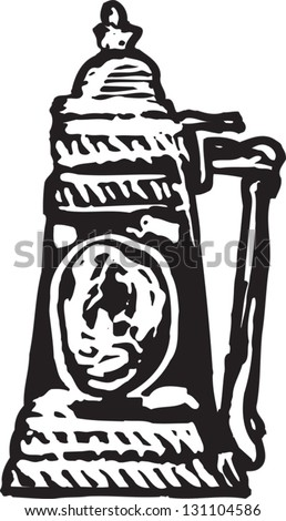 Black and white vector illustration of beer stein
