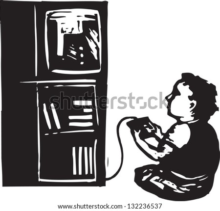 Black and white vector illustration of boy playing video game
