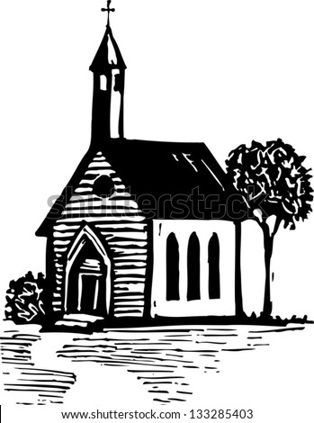 Black And White Vector Illustration Of Country Church ...