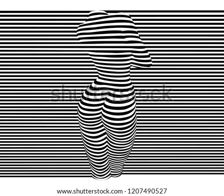 Black and white vector illustration of 3D relief of a nude woman sexy body made of horizontal stripes.