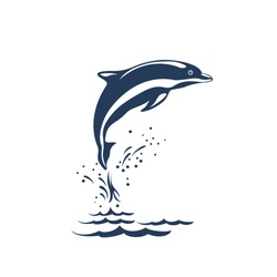 Black and white vector illustration of dolphin jumping on the wave. Monochrome dolphin isolated on white background. Logo template.
