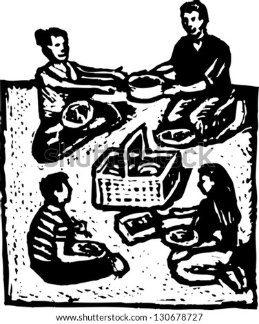 Black And White Vector Illustration Of Family At Picnic Ez Canvas
