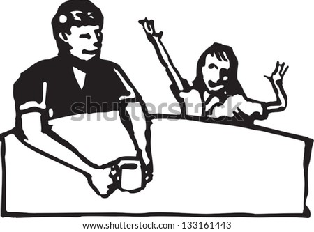 Black and white vector illustration of father listening to his daughter talking
