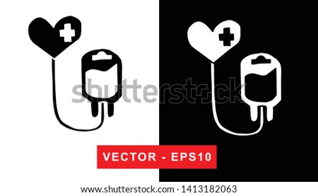 line hand with blood drop to medical donation symbol