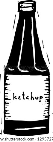 Black and white vector illustration of ketchup - stock vector