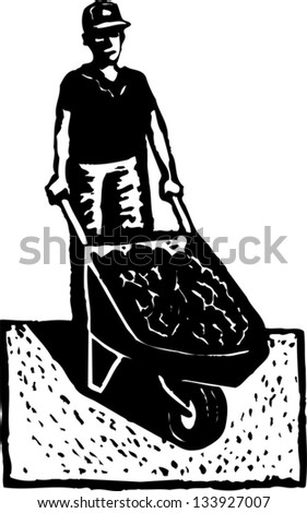 Black and white vector illustration of man with wheelbarrow full of soil