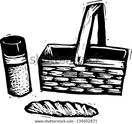 Black and white vector illustration of picnic basket