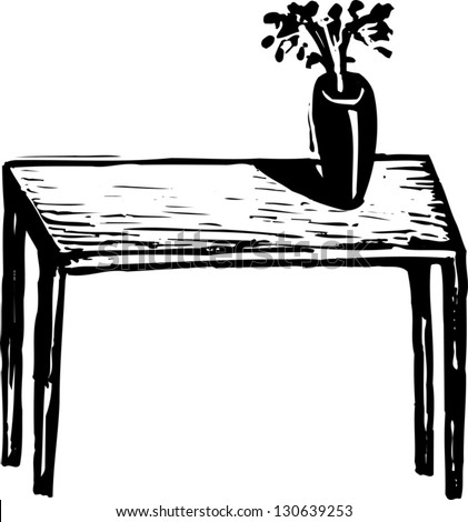 Black and white vector  Table Clipart Black And White