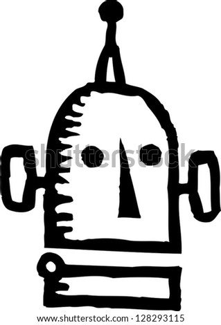 Black and white vector illustration of the head of a robot