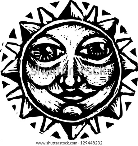 Black And White Vector Illustration Of The Sun - 129448232 ...