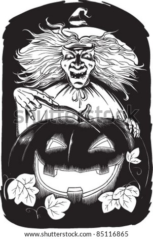 black and white vector illustration of witch and pumpkin