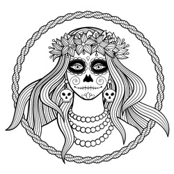 Black and white vector illustration of young woman wearing wreath of flowers with traditional make up for Dia de los Muertos (Day of the dead) celebration