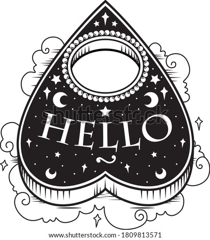 Black and white vector illustration sticker of heart shaped ouija planchette with Hello text, pearls stars clouds. Dark metal occult tattoo aesthetic, Halloween horror movie creepy mystic goth icon  ストックフォト ©