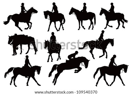 Black and white vector illustration with ten riders and their horses