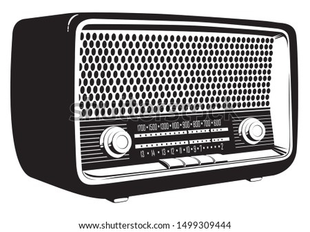 Black and white vector image of an old radio receiver of the last century in retro style. Isometric illustration of an old-fashioned radio isolated on white background. Retro music