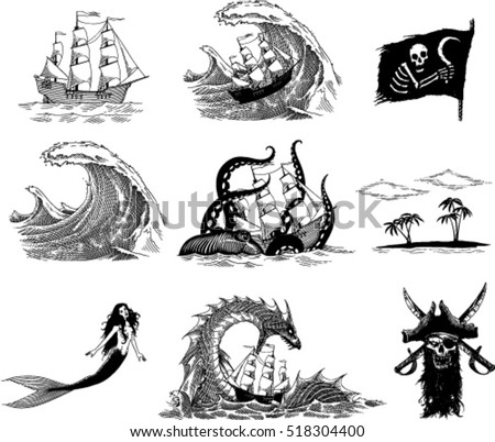 black and white  vector images