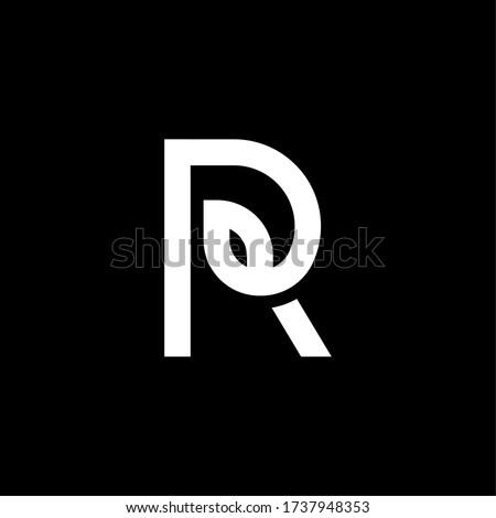 Black and White Vector Leaf Letter R. R Leafs Letter Design. Stok fotoğraf ©