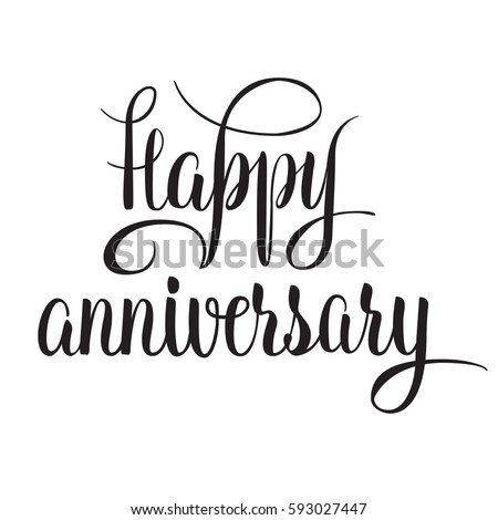 black and white vector lettering happy anniversary isolated vector illustration handwritten modern calligraphy