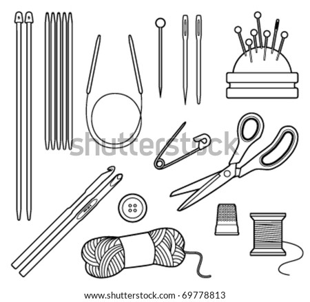 Black and white vector line drawing of crafting tools