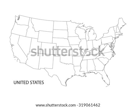 black and white vector map of United States of America