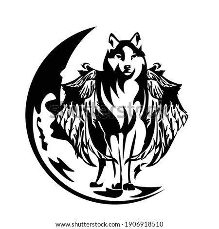 black and white vector outline of standing mythical winged wolf and crescent moon Stock photo ©