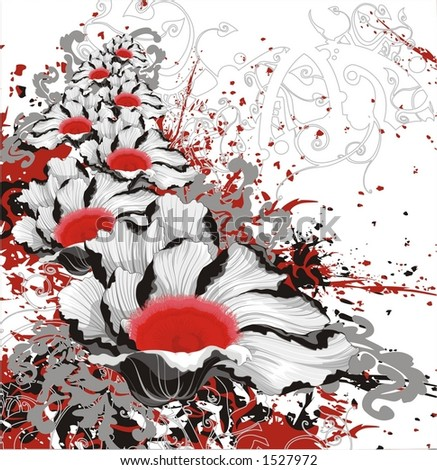 black-and-white vector poppies with red centers,  for raster version view my portfolio