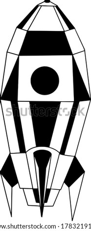 black and white vector rocket