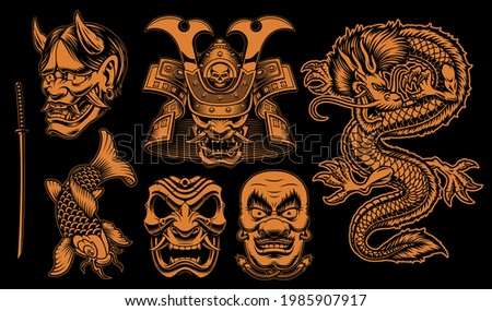 Black and white vector Samurai clipart, vector illustrations for a Japanese theme.