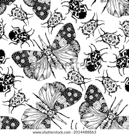 Black and white vector seamless pattern with hand drawn tropical bugs. Lanternfly, fire bug and hibiscus harlequin bug