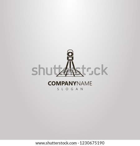 black and white vector simple geometric logo of total station on a map