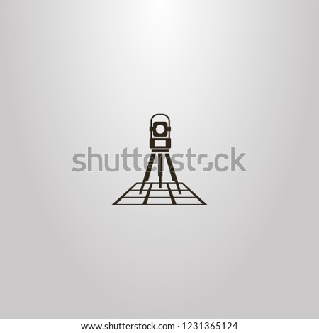 black and white vector simple geometric sign of total station on a map