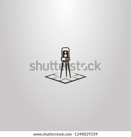 black and white vector simple geometric sign of total station on a rhombus map