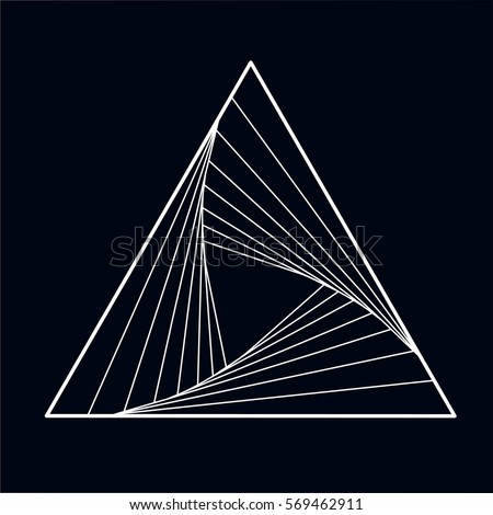 Black and white vector sketch the fire triangle tattoo with elements of minimalism geometric waves and strings. Vector image on dark background.