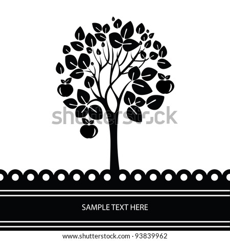 black and white vector tree