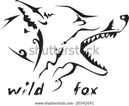stock vector : Black and white vector: wild fox head. Tribal tattoo style.