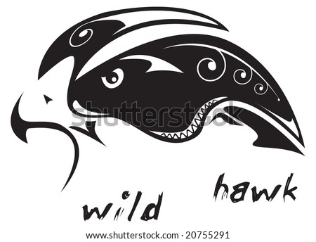 stock vector : Black and white vector: wild hawk. Tribal tattoo style. Very