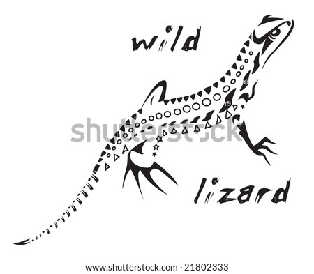 2 x Tattoo flashes - Tribal Maori Style Geckos stock vector : Black and white vector: wild lizard Tribal tattoo style.