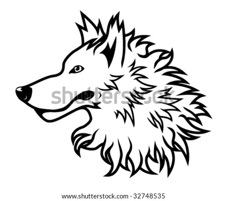 stock vector : Black and white vector wolf head drawing